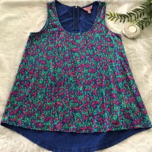 Lilly Pulitzer floral zip back tank top